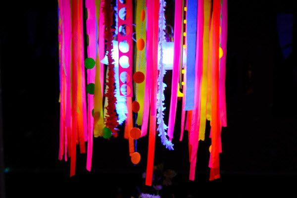 Glow In The Dark Decoration Ideas hula hoop chandelier decoration glow in the dark: 15 neon birthday