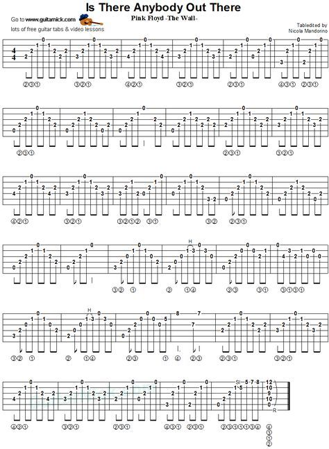 Is There Anybody Out There Fingerstyle Guitar Tab Music