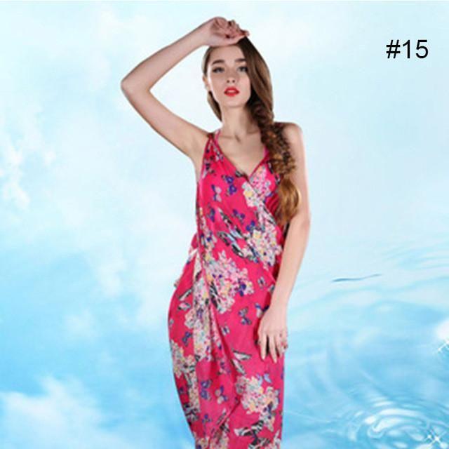 8ed2d01f90 Women Beach Dress Swimwear Sexy Sling Beach Wear Dress Sarong Bikini Cover-ups  Wrap Pareo Skirts Towel Flower Open-Back Swimsuit