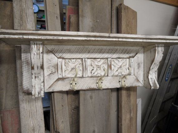 Large Cottage Chic Coat Rack Primitive Hat French Country Wall Shelf Hall Tree Rustic Mantle Antique