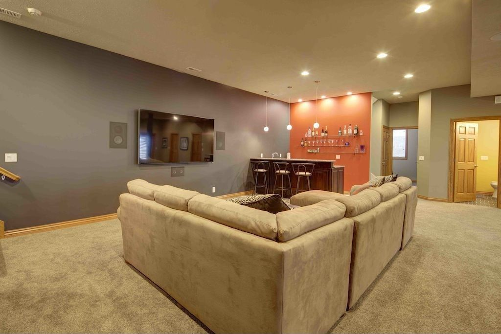 Contemporary Basement With Carpet Constellation 1 Light Globe Pendant By Wildon Home Built