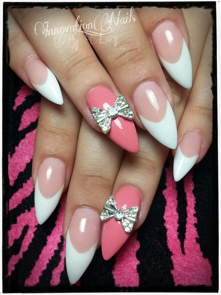 Stiletto White Tip And Pink Cute Nail Art Designs Toe Nail Color Funky Nails
