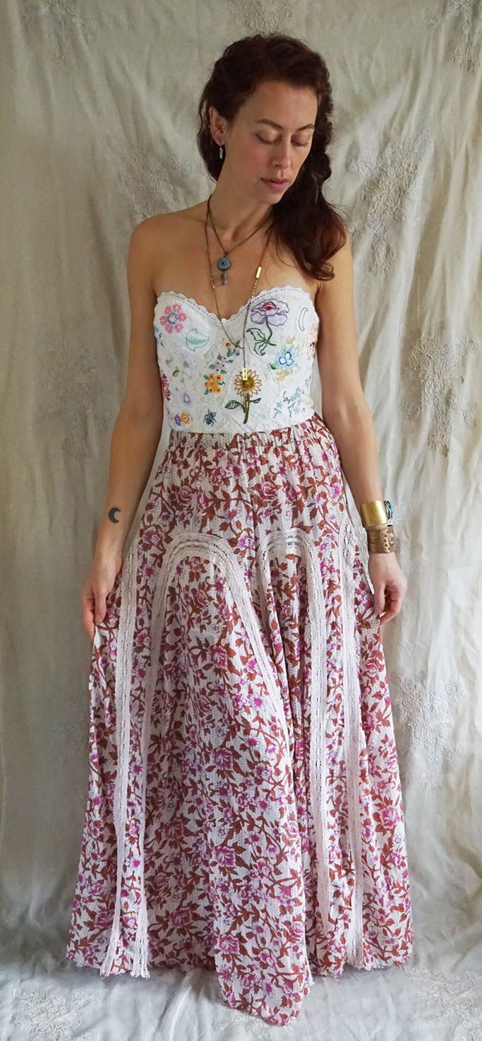 Meadow bridal bustier by fable dresses worn with free people maxi