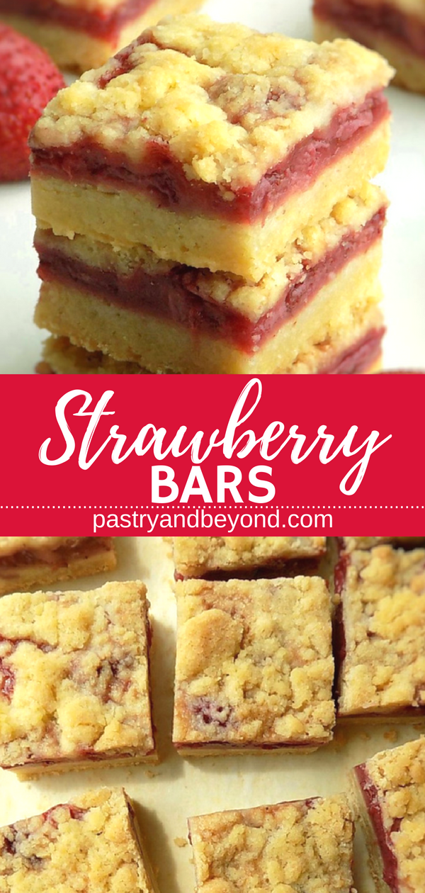 5 Ingredient Strawberry Crumble Bars- You can make these yummy strawberry crumble bars with only 5 ingredients! You need the same dough for the crust and the topping! #strawberrybars #crumblebars #strawberry #fresh #homemade #easy #recipes Recipe on pastryandbeyond.com with step by step pictures. #dessertrecipes