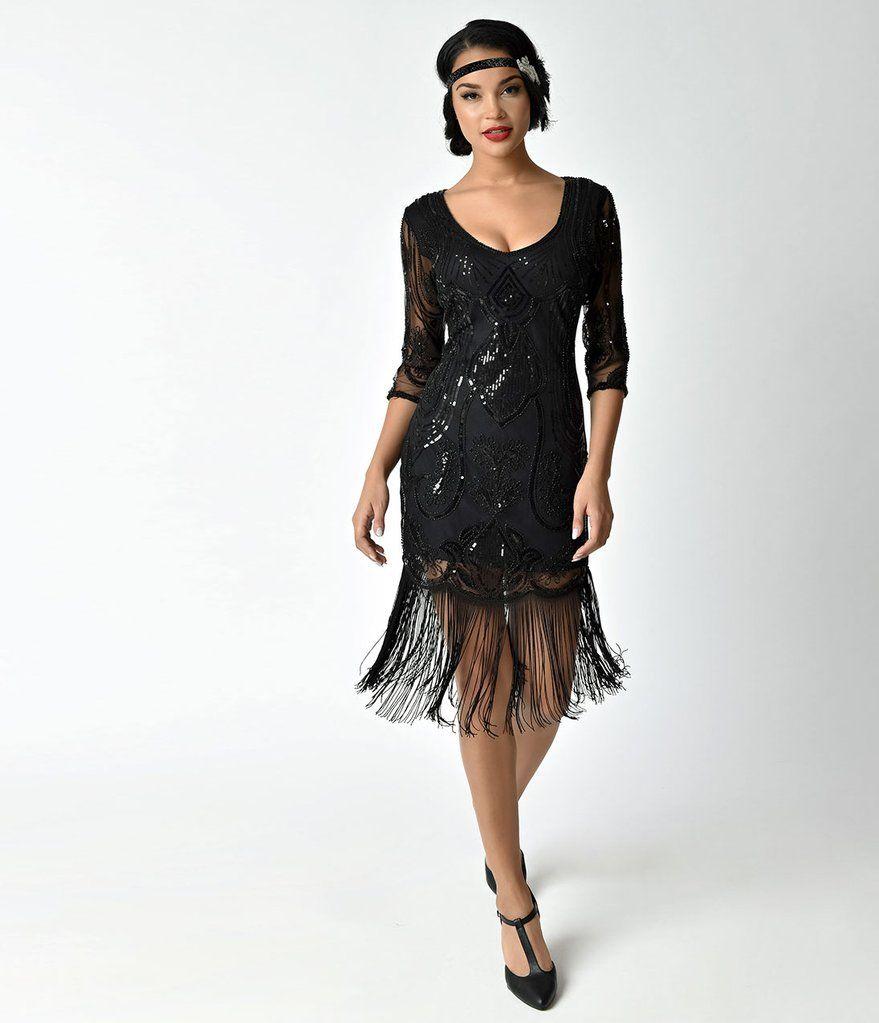 Unique Vintage Black Beaded Sequin Margaux Sleeved Fringe Cocktail Dress Sequin Cocktail Dress Black Cocktail Dress 1920s Fashion Women [ 1023 x 879 Pixel ]