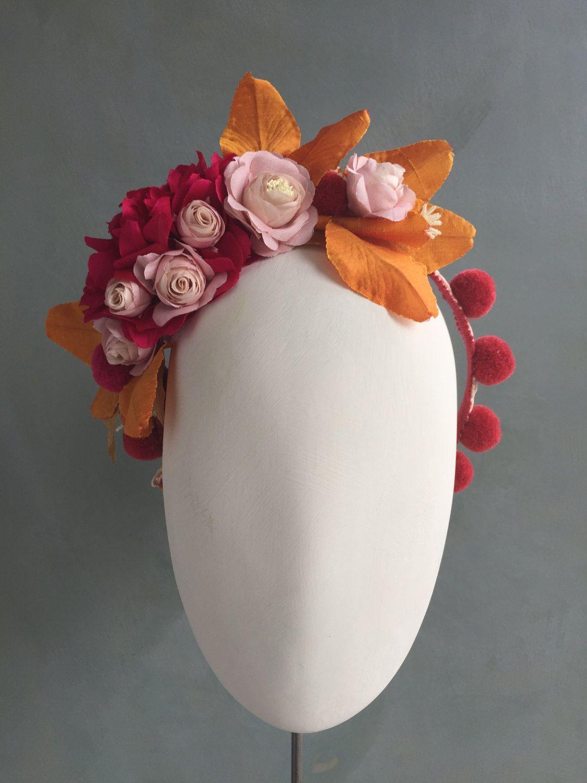 Silk Flower Headband Dahlia Rose Bougainvillea Pom Pom Party