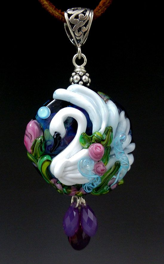 Swan Midnight Gardens original custom handmade by LandSArts