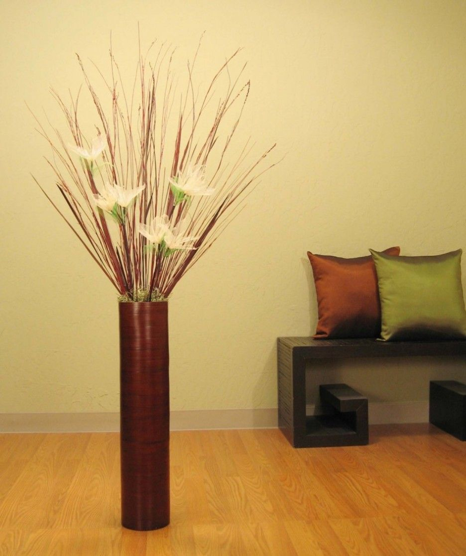 Living Room Brown Reddish Plywood Vase With White Decorative Flowers And