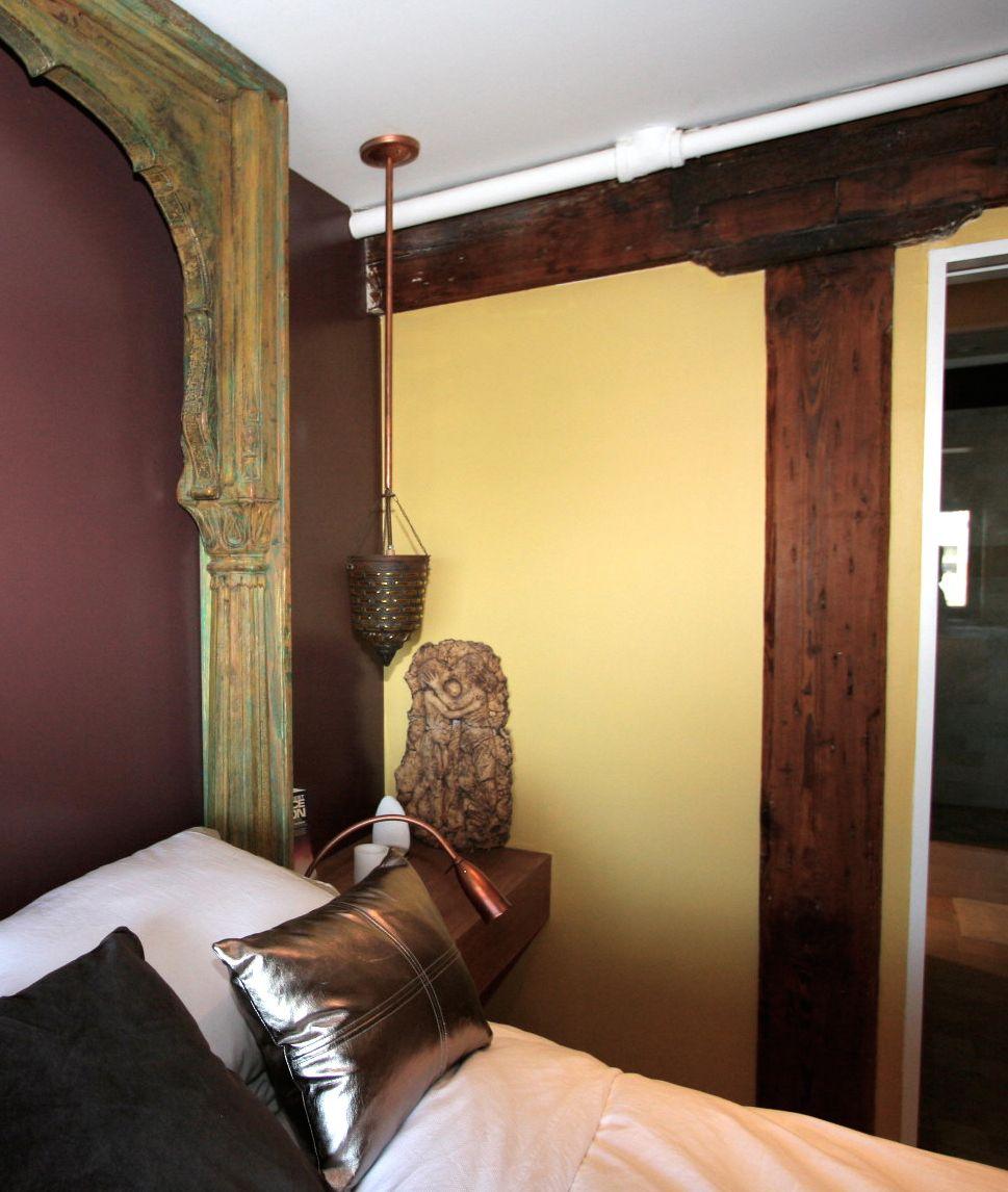 Custom Headboard Made From Antique Temple Door Jam Custom Furniture