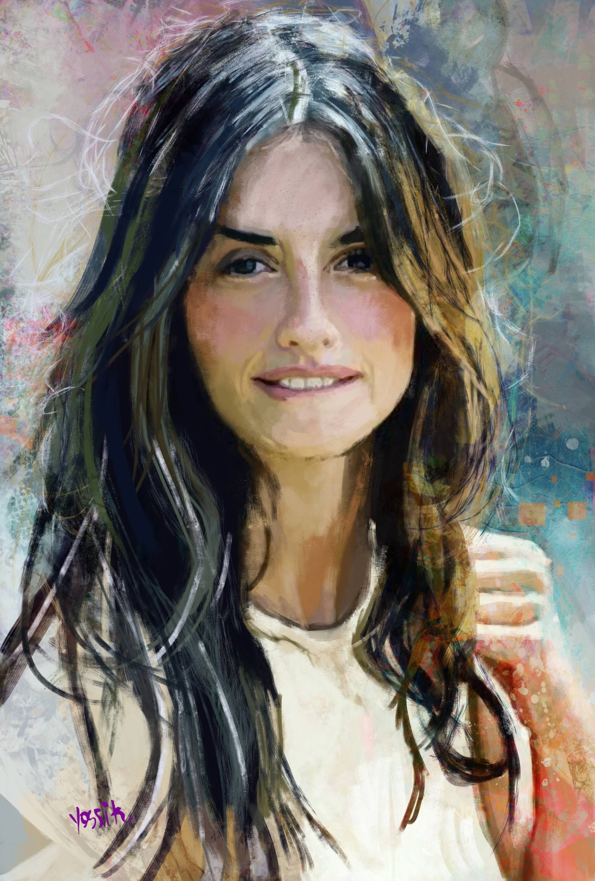 Penelope Cruz Painting Portraiture Painting Portrait Painting