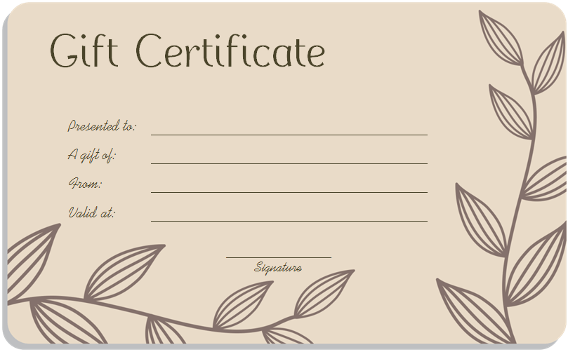 Leaf Branches Art Gift Certificate Template More  Personalized Gift Certificates Template Free