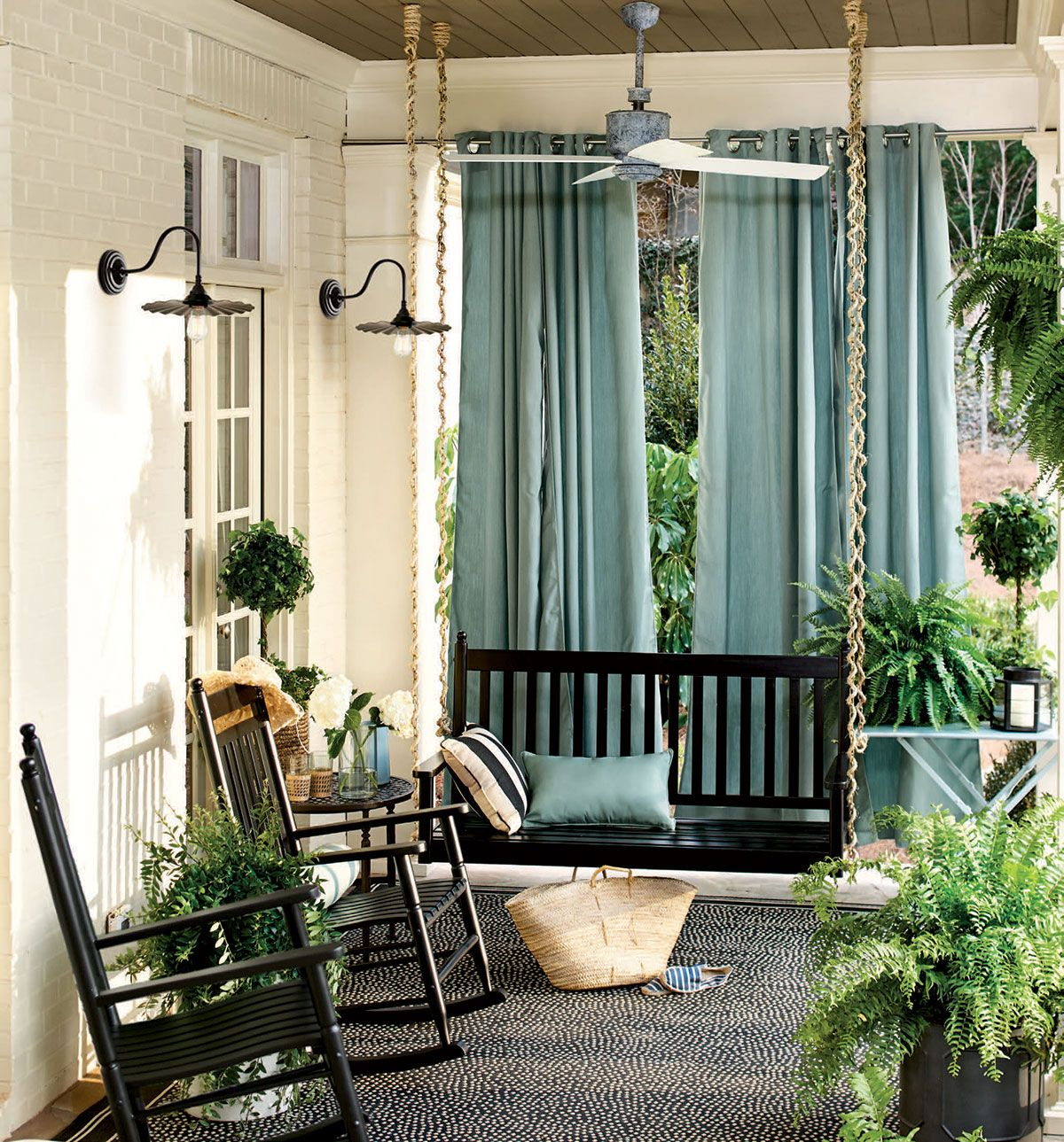 Porch curtains ideas - Outdoor Spaces Front Porch Curtainsporch