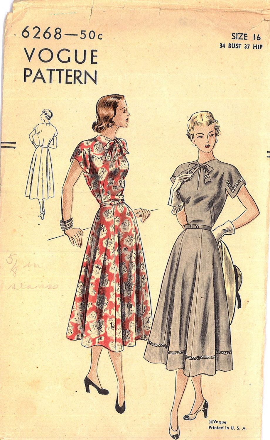More Forties Inspired Flair: Vintage 1940s Vogue Six-Gored Flair Skirt Dress Pattern