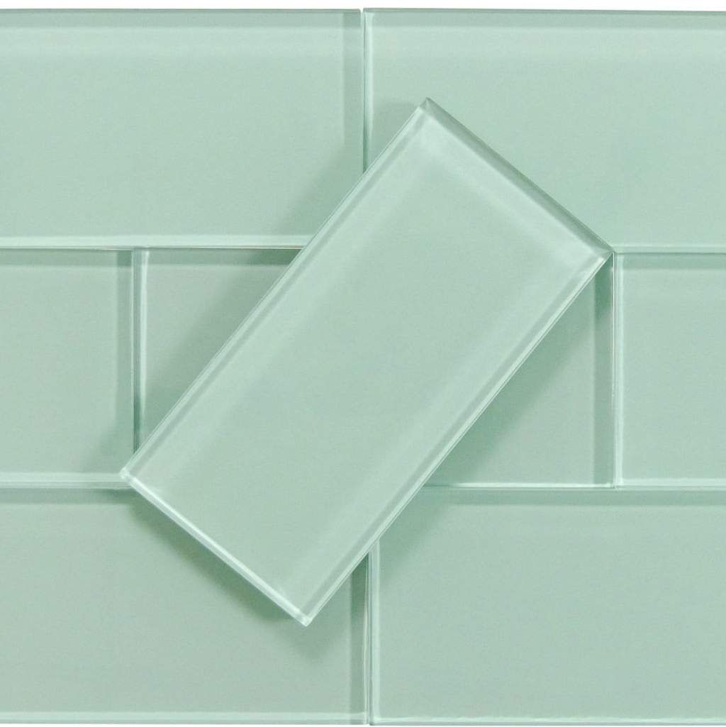 Malted Mint Green 3 X 6 Glossy Glass Subway Tile Glass Subway Tile Mint Green Bathrooms Mint Green Bedroom