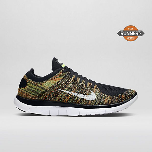nike free 4.0 flyknit black / poison green/orange jackets