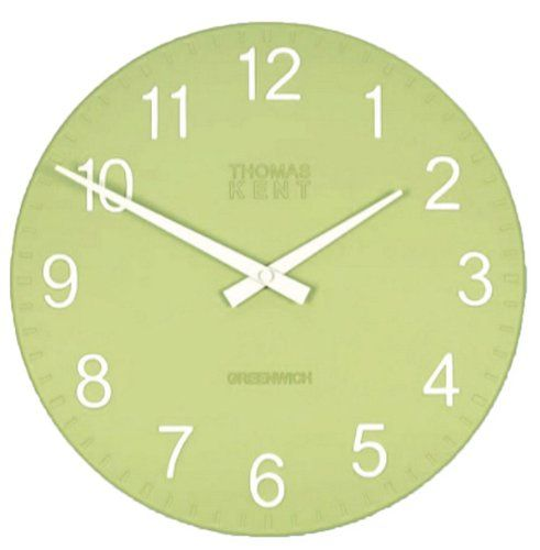 "Accent Wall Tom Kent: Thomas Kent 12"" Cotswold Fern Lime Green Large Wall Clock"