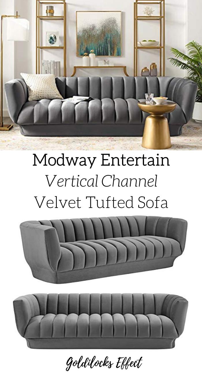 Modway Entertain Tufted Velvet Grey Sofa Goldilocks Effect In 2020 Sofa Velvet Tufted Sofa Tufted Sofa