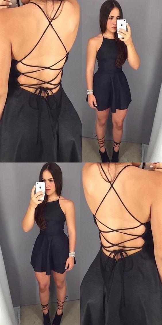 08f881a6a2e9 dress black dress heels black romper halter neck strappy instagram tie up  cute…