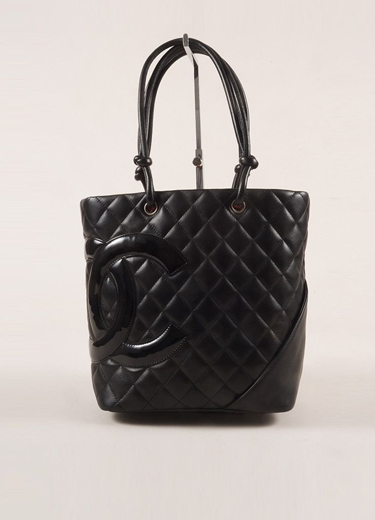 """Black Quilted Lambskin and Patent Leather """"Cambon Ligne"""" """"CC"""" Mini Tote Bag"""