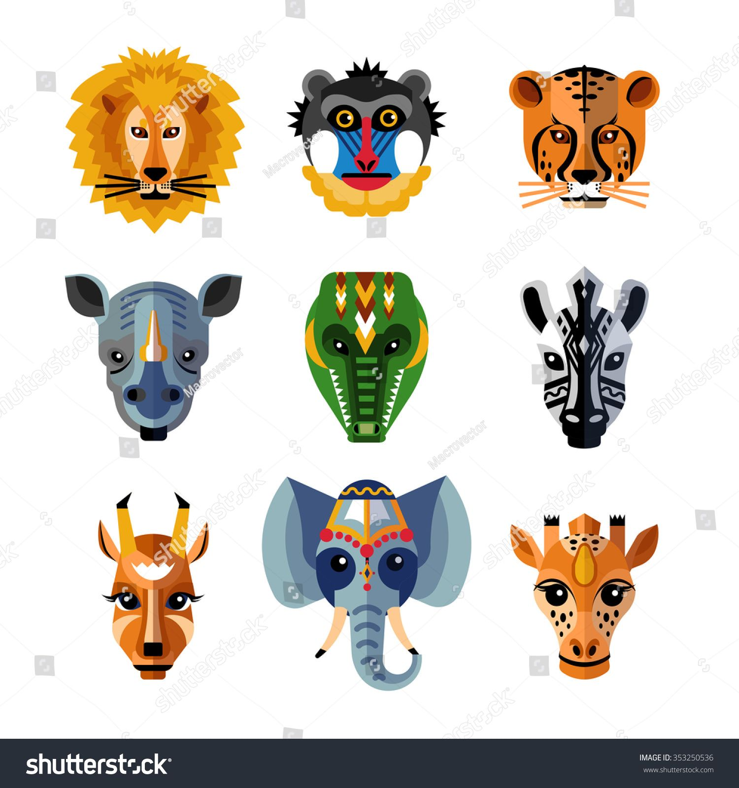 Traditional African Facial Masks Shaped As Wild Jungle Animals Heads Flat Icons Collection Abstract Isolated Vector Il African Animals Animal Icon Animal Masks