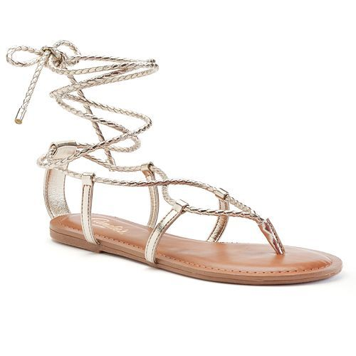 Candie's® Women's Lace-Up Sandals - Gold