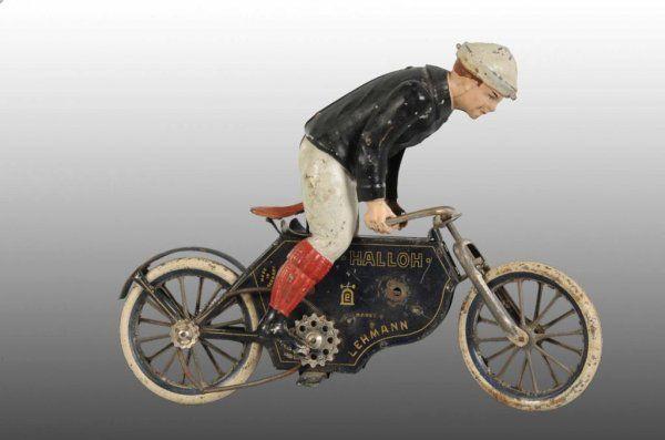 Lehmann Halloh Motorcycle Wind-Up Toy, Germany