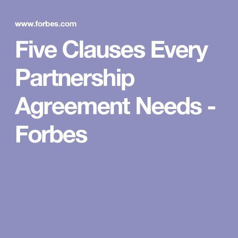 Five Clauses Every Partnership Agreement Needs - business partnership agreement