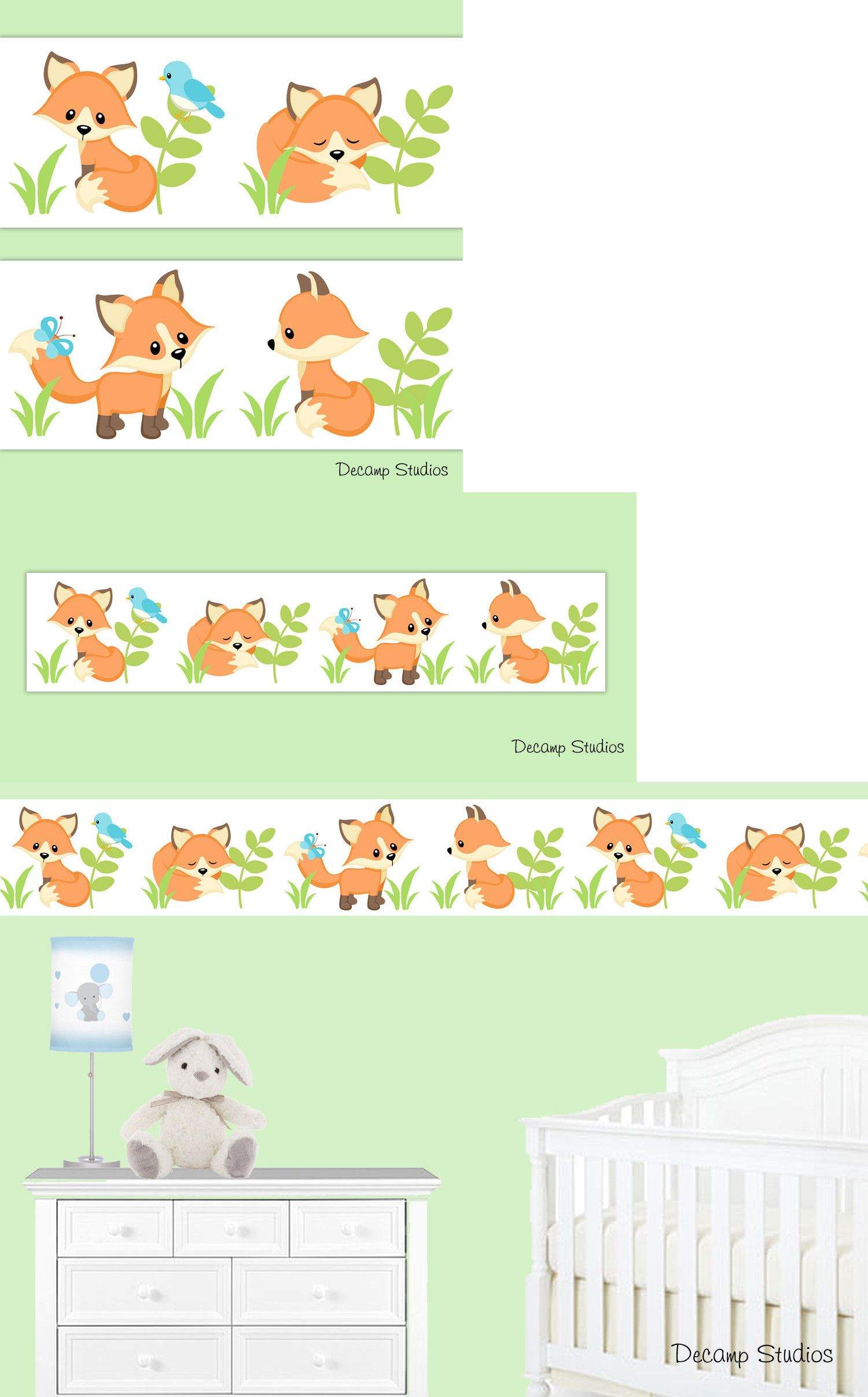 Wallpaper Borders 37636 Woodland Fox Border Baby Nursery