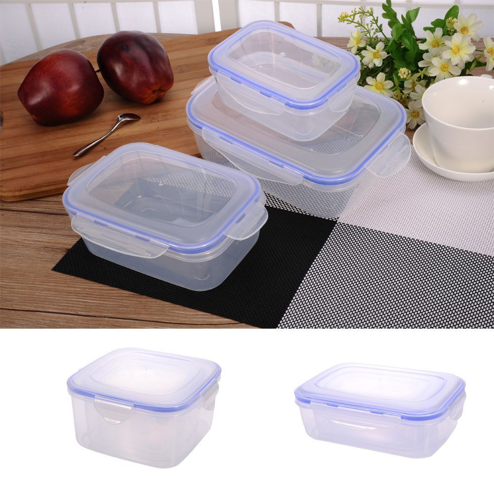 3 Pcs Food Plastic Storage Containers Nesting Clear Safe Lock Lids