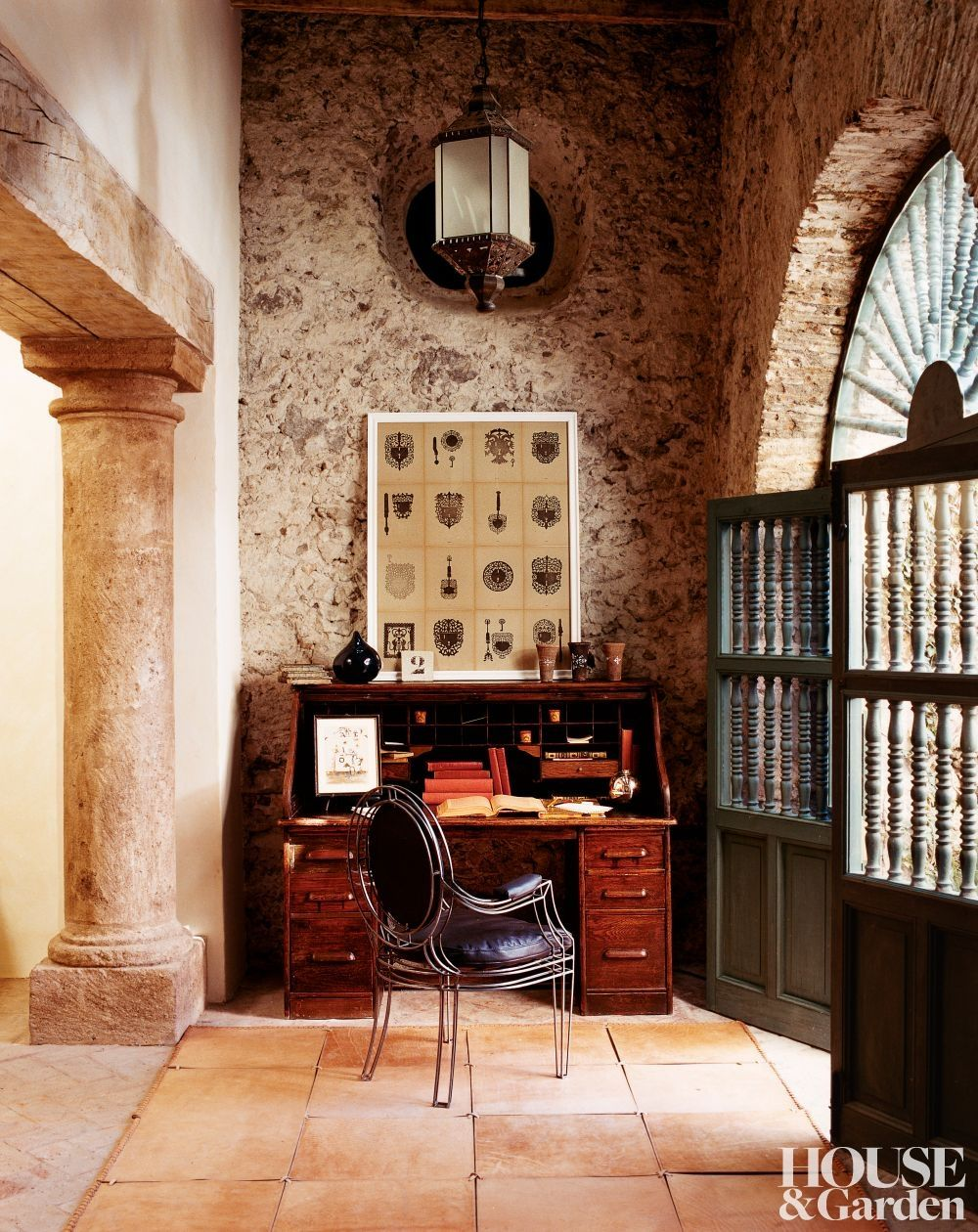 home office mexico. Designer Anne-Marie Midy Created The Opera Chair Covered In Leather That Sits Home Office Of Her San Miguel Del Allende Hacienda; Custom Rug Mexico