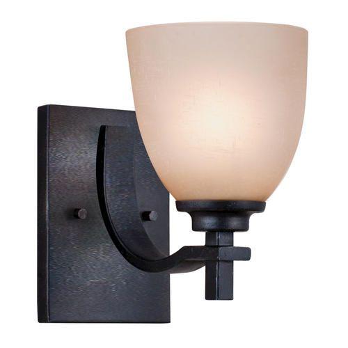 """Bathroom Sconces Menards patriot lighting walden 1-light 5.25"""" dark natural iron wall"""