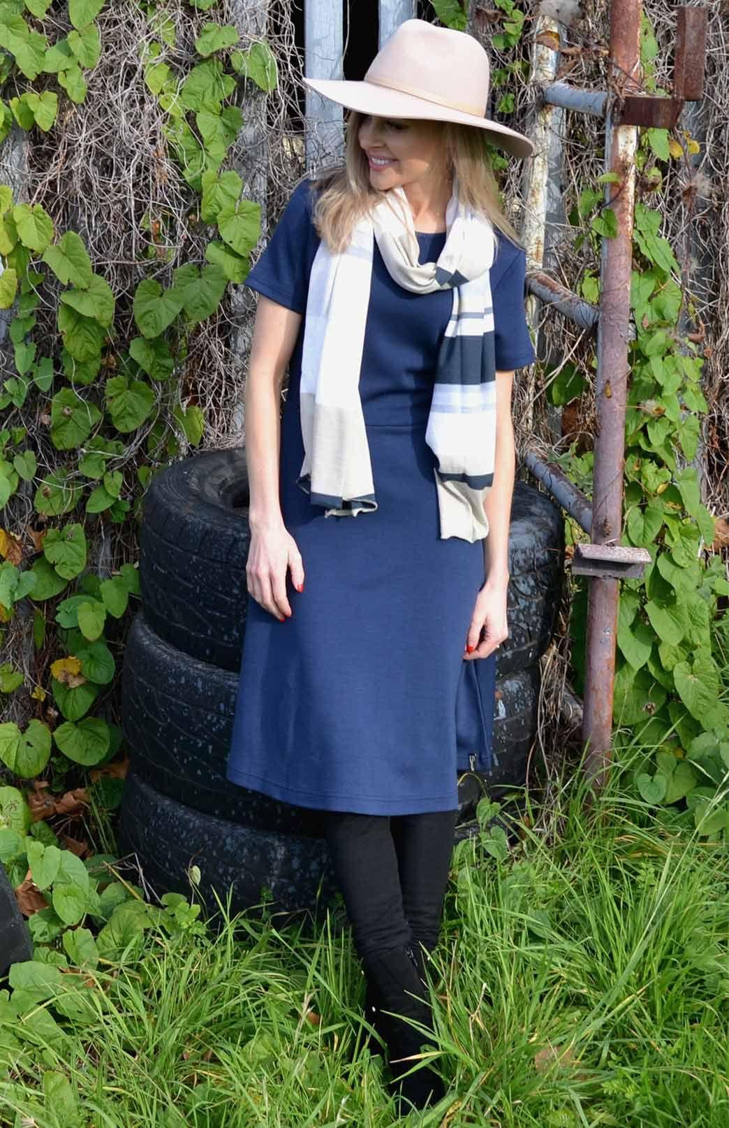 f07bb12b970f0 Zoe Dress    Indigo Blue    Women s Pure Merino Wool Dress with Short  Sleeves