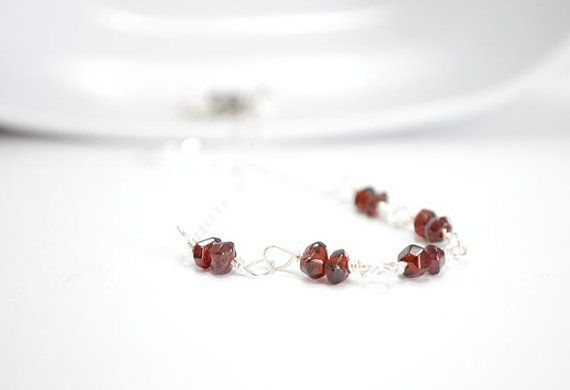 Garnet Necklace Sterling Silver Deep Red January by CCARIA on Etsy, $29.00
