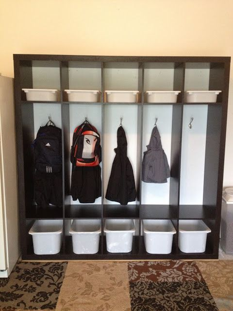 Dana sears our first ikea hack the boys lockers for Kallax regal weiay