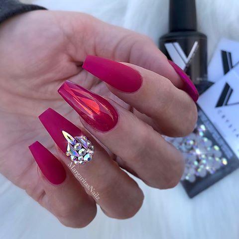 matte coffin nails margaritasnailz bling nail art design