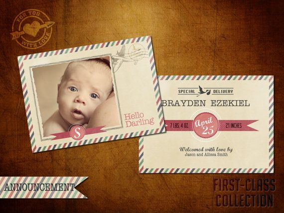 5x7 Vintage Birth Announcement Template First Class Collection Baby I On Etsy 8 Birth Announcement Template Vintage Birth Announcement Birth Announcement