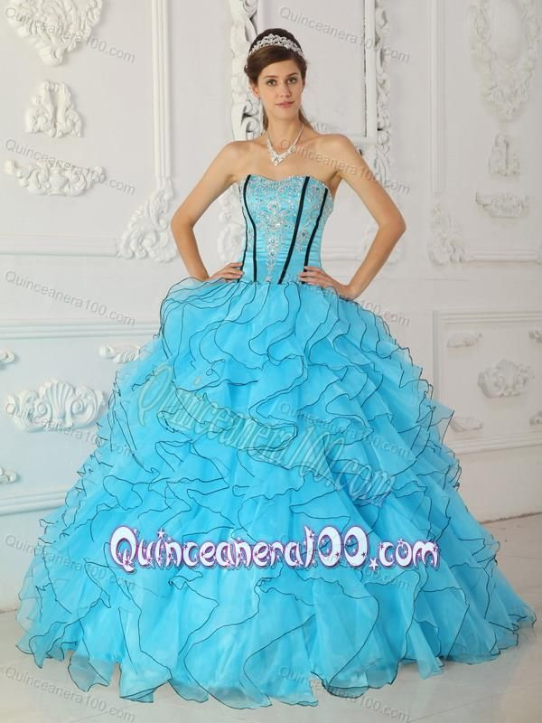 1d2cb4317ef Baby Blue Ball Gown Strapless Floor-length Organza Appliques 16 Party Dress