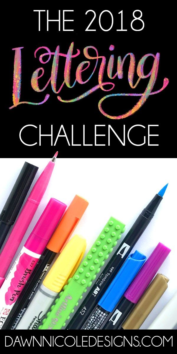 2018 Lettering Challenge Prompts and Printable