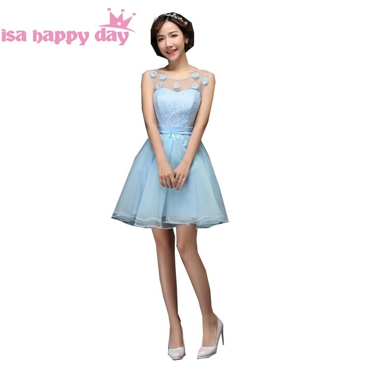 short junior light blue corset tulle lace up fancy pageant ball gown ...