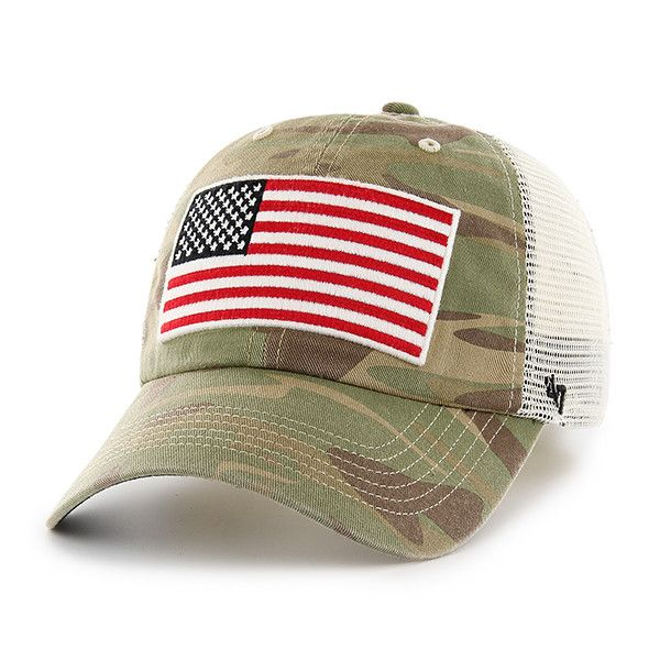 d3b246bd0ef60 Operation Hat Trick Faded Camo 47 Brand Adjustable USA Flag Hat in ...