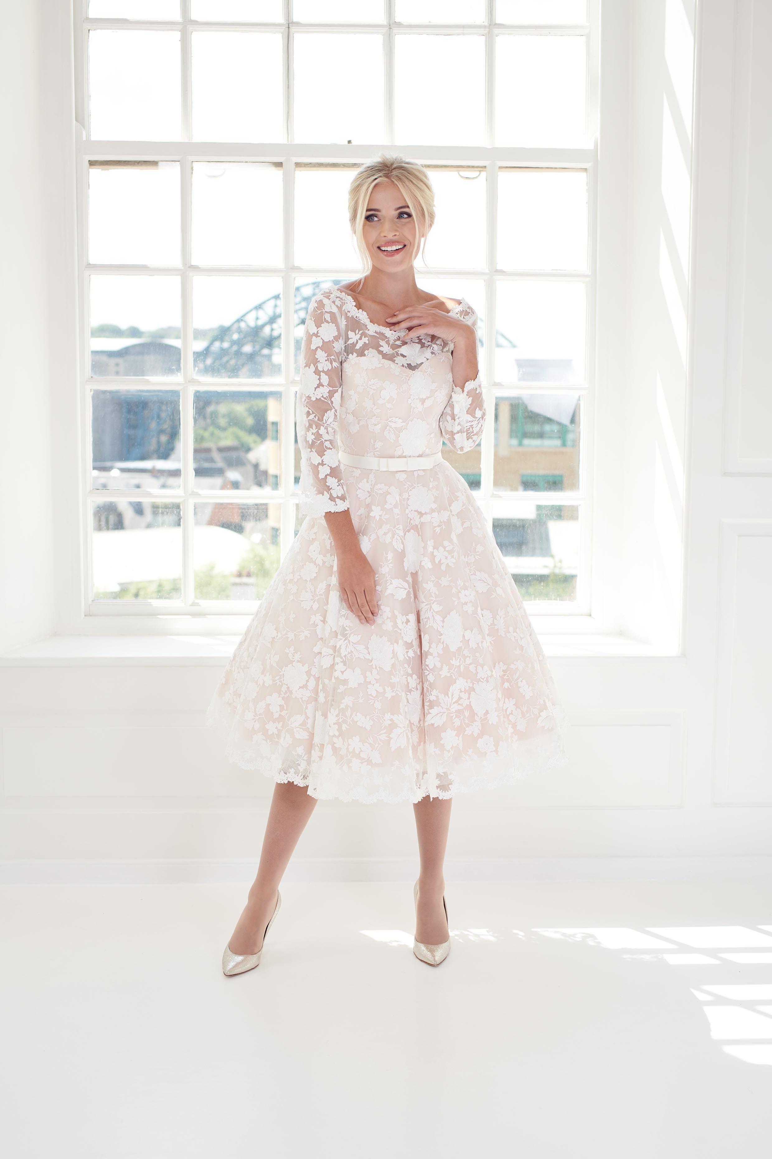 Blush vintage inspired 1950's short tea length wedding