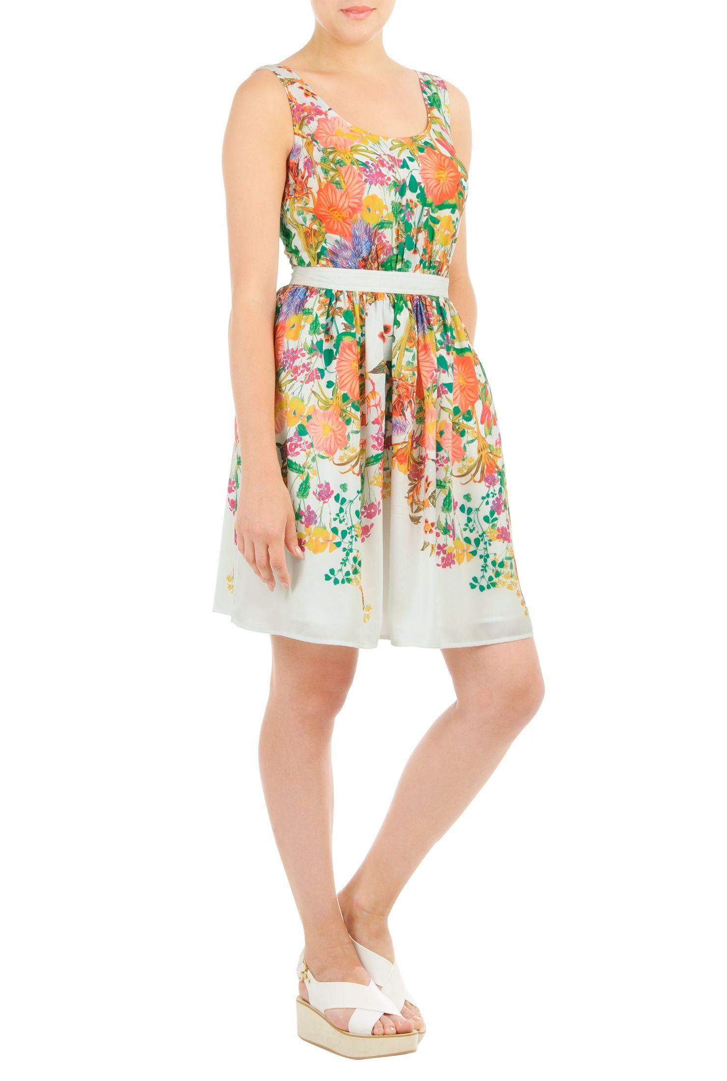 edb407e06f3 Floral Print Banded Waist Crepe Dresses