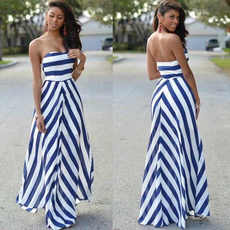 Blue And White Off The Shoulder Stripped Maxi Dress Empire Waist