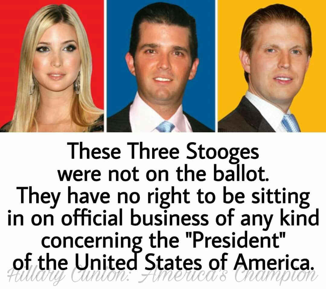 """They are not elected officials. They are not part of any governing board. Supposedly, they are """"in charge"""" of their Father's business as a trust. Therefore, having any of them participate in ANY federal business is a direct violation of the Presidential office."""
