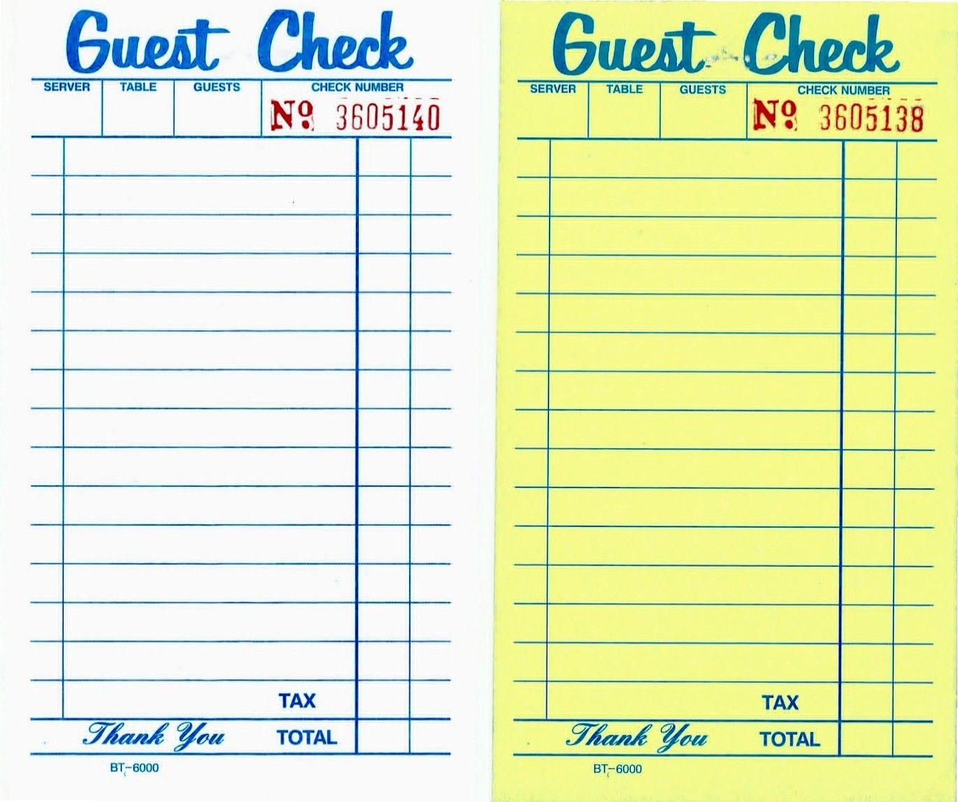 Nice Printable Guest Checks To Guest Check Template