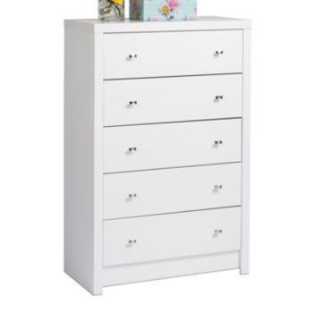 Prepac Calla 5 Drawer Dresser White Laminate Chest Of Drawers