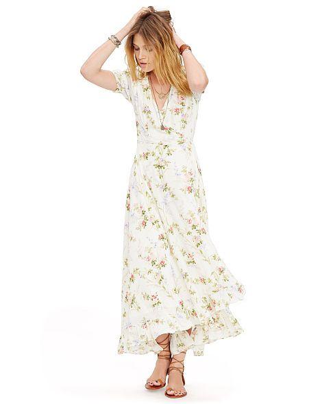 Floral-Print Gauze Wrap Dress - Denim & Supply Maxi Dresses - RalphLauren .com
