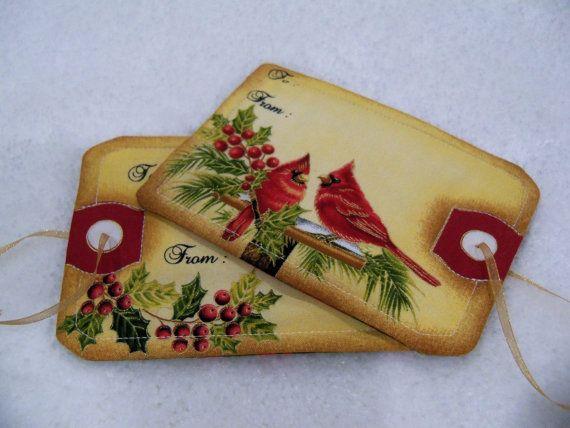 Christmas Fabric Gift Tag Quilted Mug Rug Handmade Gift Decor Holiday Gift Tags