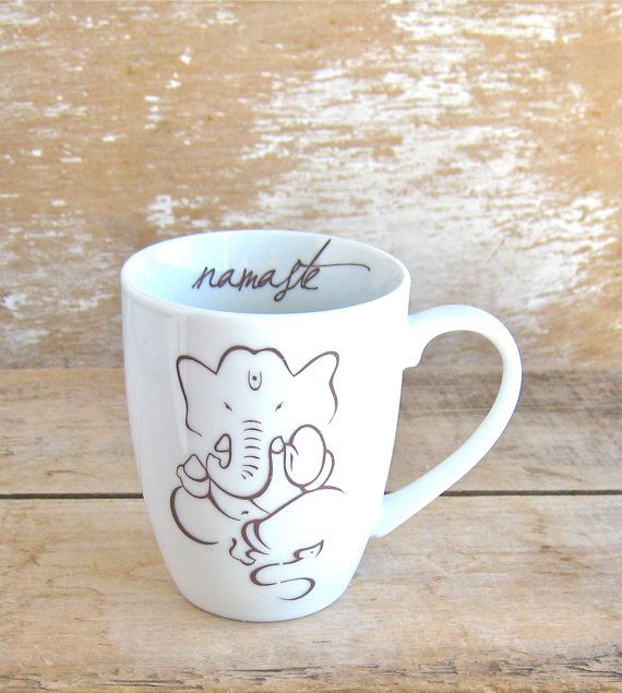 Ganesh Namaste Lotus Mug 12 oz Yoga Coffee by SecondChanceCeramics, $18.00