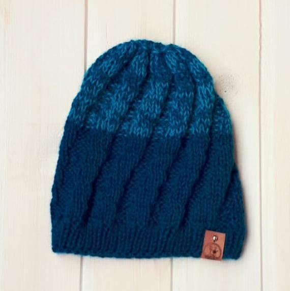 5b6c1152ef8 Royal blue hat Woolly hat Mens knit hat Fisherman hat Alpaca hat women  Cable knitted hat Mans wool h